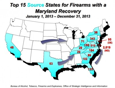 Map of Maryland state crime gun sources (interstate gun movement)