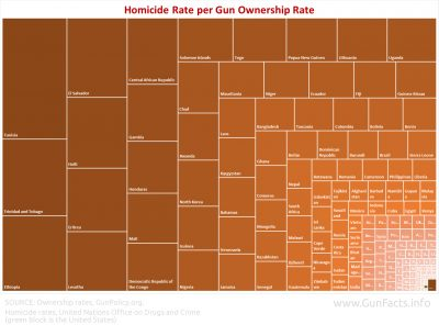 Homicide Rate per Gun Ownership Rate - international - treemap
