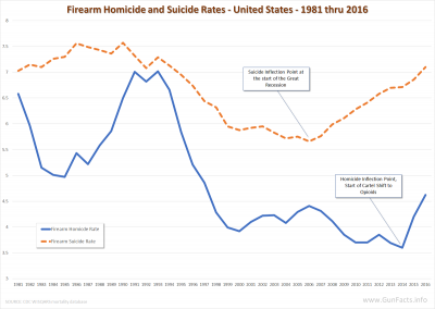 Firearm Homicides and Suicides - United States - 1981 thru 2016
